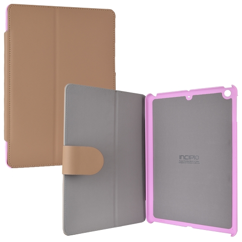 (18-Pack) Incipio Lexington Sophisticated Stylish Kickstand Protective Vegan Leather Cover for iPad Air (Tan/Pink)