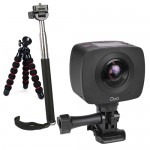 GIGABYTE JOLT Duo 360 4MPx2 1920x960 Dual Lens Sports Action Camera Kit w/Tripod