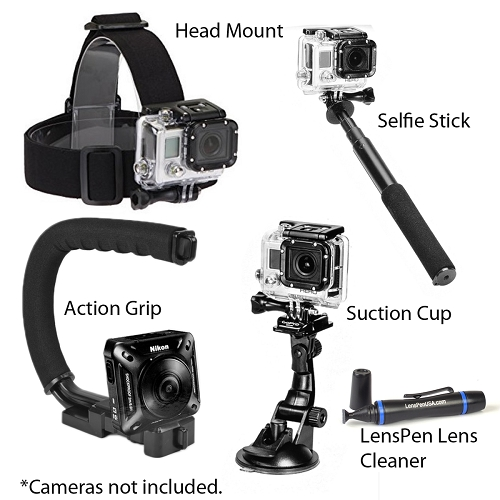 Sunpak Action Camera Accessory Kit w/Selfie Stick