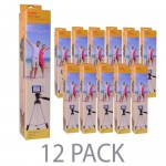 "(12-Pack) 50"" Kodak TR501 Superior Control Tripod w/3-Way Fluid Pan Head & Bubble Level Indicator (Black)"