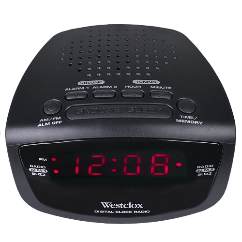 westclox 80209 am fm dual alarm clock radio w digital tuning black. Black Bedroom Furniture Sets. Home Design Ideas