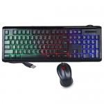 iMicro KB-RP2169C 104-Key Rainbow Backlit USB Wired Multimedia Keyboard & Optical Mouse Kit (Black)