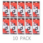 (10-Pack) ZipKord 970eb Retractable Earbud Stereo Headset w/Inline Microphone & 3.5mm Plug (Black)