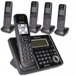 Panasonic KX-TG585SK DECT 6.0 Link2Cell Bluetooth Cordless Phone Set w/Answering System & 5 Handsets